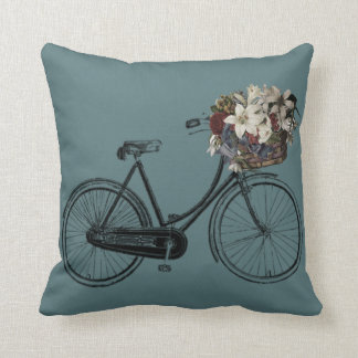 smoke teal  bicycle flower  🌸 Throw pillow