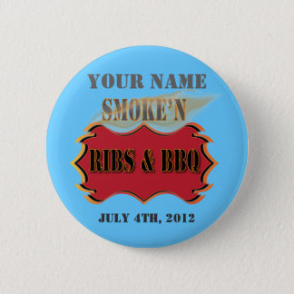 smoke'n ribs and bbq 6 cm round badge