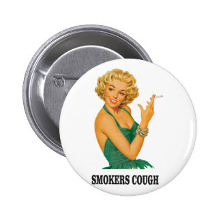 smokers cough lady 6 cm round badge