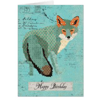 Smokey Amber Fox Retro  Birthday  Card