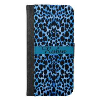 Smokey Blue Leopard Personalized Wallet Case