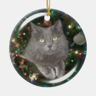 Smokey Gray Cat Ceramic Ornament