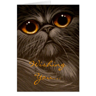 SMOKEY PERSIAN CAT PAINTING HOLIDAY Card
