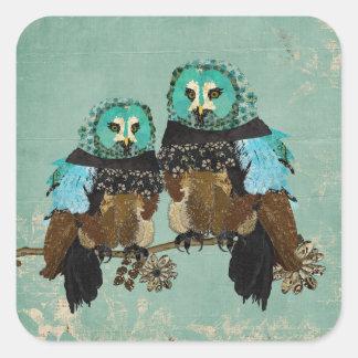 Smokey Rose Owls Sticker