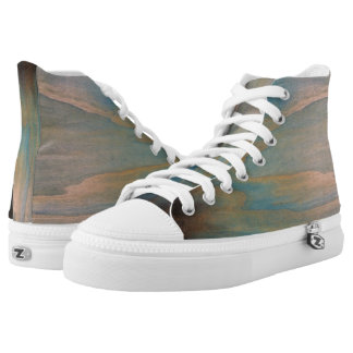Smokey Wood Grain High Top Shoes Printed Shoes