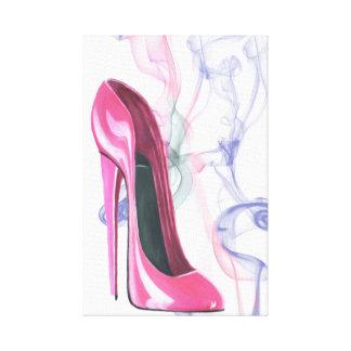 Smokin' Pink Stiletto Shoe Wrapped Canvas Canvas Prints