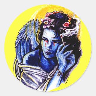 Smoking angel round sticker
