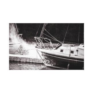 Smoking boat canvas print