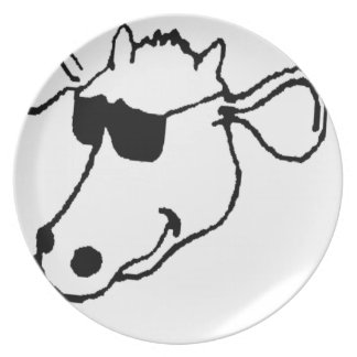 Smoking Cow with Sunglasses Plate