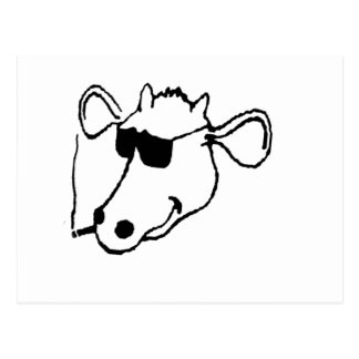 Smoking Cow with Sunglasses Postcard