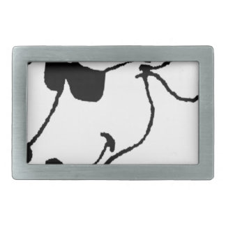 Smoking Cow with Sunglasses Rectangular Belt Buckle