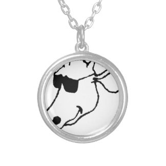 Smoking Cow with Sunglasses Silver Plated Necklace