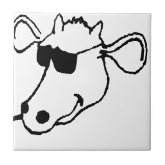 Smoking Cow with Sunglasses Tile