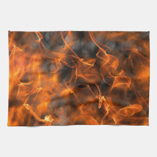 Smoking Flames of Fire Hand Towels