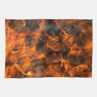 Smoking Flames of Fire Tea Towel