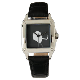 Smoking Gangster Perfect Square Black Leather Watch