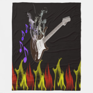 Smoking Guitar Fleece Blanket