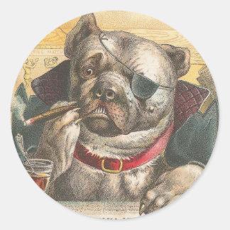Smoking Pitbull Classic Round Sticker
