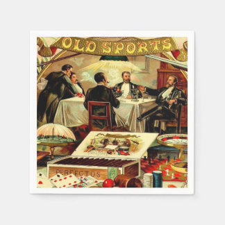 Smoking Poker Bachelor Party Vintage Cigar Label Disposable Serviettes