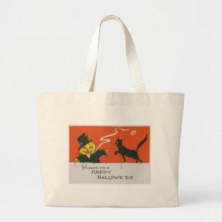 Smoking Scarecrow Jack O' Lantern Black Cat Jumbo Tote Bag