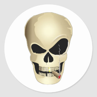 Smoking Skull Classic Round Sticker
