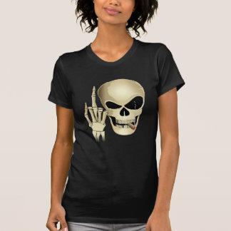 Smoking skull giving the finger T-Shirt