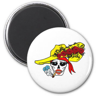 SMOKING SKULL PIRATE WITH ROSE HAT TATTOO ART PRIN MAGNET