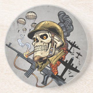 Smoking Skull with Helmet, Airplanes and Bombs Coaster
