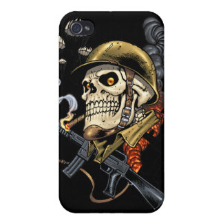 Smoking Skull with Helmet, Airplanes and Bombs iPhone 4/4S Cover
