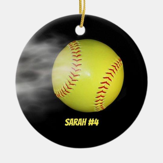 Smoking Softball Christmas Ornament