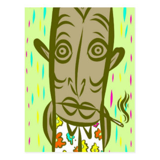 Smoking Tiki Postcard