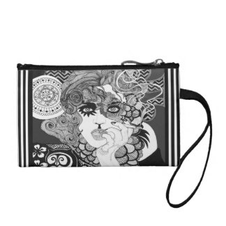 Smoking vintage woman coin purse