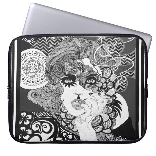 Smoking Woman Neoprene Laptop Sleeve 15 inch