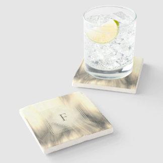Smoky and Faded Abstract Monogram | Stone Coaster
