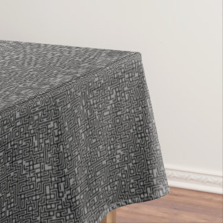 Smoky Gray Block Maze Abstract Pathway Art Tablecloth