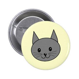 Smoky Gray Cat. Pinback Button