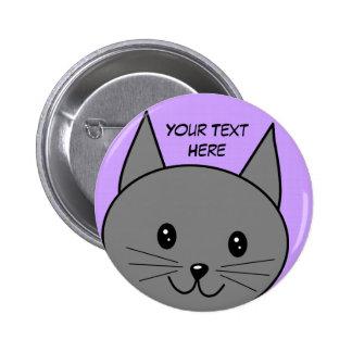 Smoky Grey Cat. Button