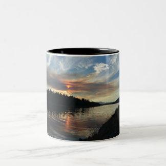 Smoky Lake Sunset two tone coffee mug