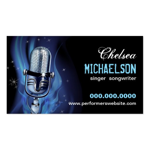 Smoky Microphone Performers Business Cards