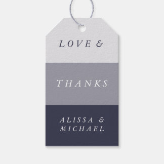 Smoky Midnight Blue Colorblock Thank You Favor Gift Tags