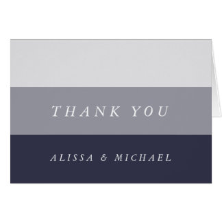 Smoky Midnight Blue Grey Colorblock Thank You Card