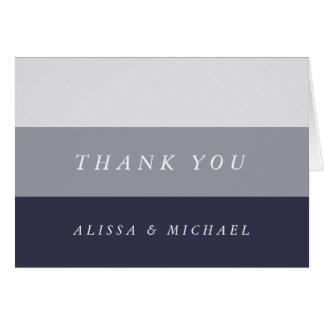 Smoky Midnight Blue Grey Colorblock Thank You Card