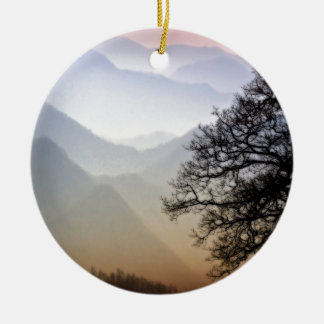 Smoky Mountain Sunset from the Blue Ridge Parkway Round Ceramic Decoration
