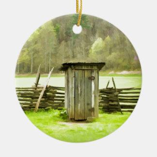 Smoky Mountains Outhouse Round Ceramic Decoration
