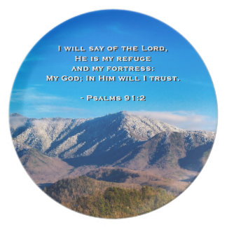 Smoky Mountains Tennessee Bible Psalms 91:2 Plate