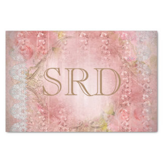 Smoky Victorian Blush Floral Cascading Flowers Tissue Paper