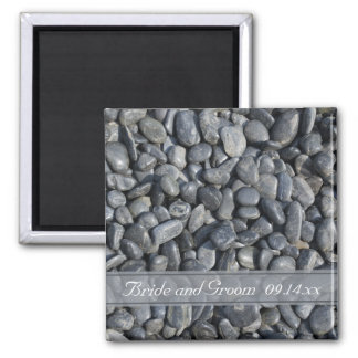 Smooth Black Pebbles Wedding Magnet