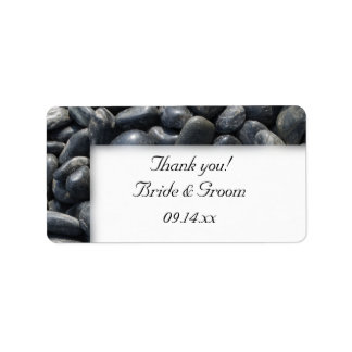 Smooth Black Pebbles Wedding Thank You Favor Tags Address Label