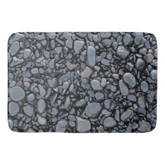 Smooth Black Shiny Stones Bath Mat