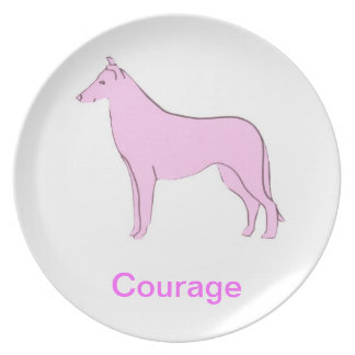 Smooth Collie Courage Cancer Awareness Plate